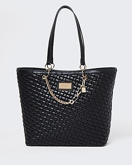 Black woven shopper bag