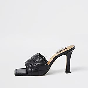 Zwarte geweven sandalen met vierkante tip