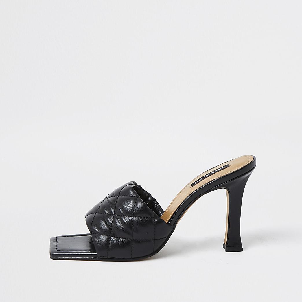 Black woven square toe mule sandal