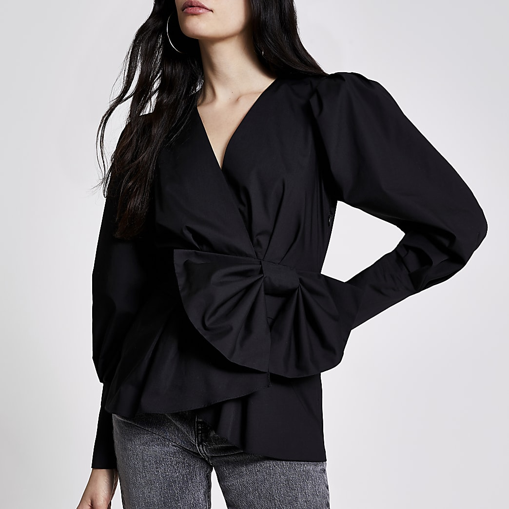 Black wrap bow peplum blouse