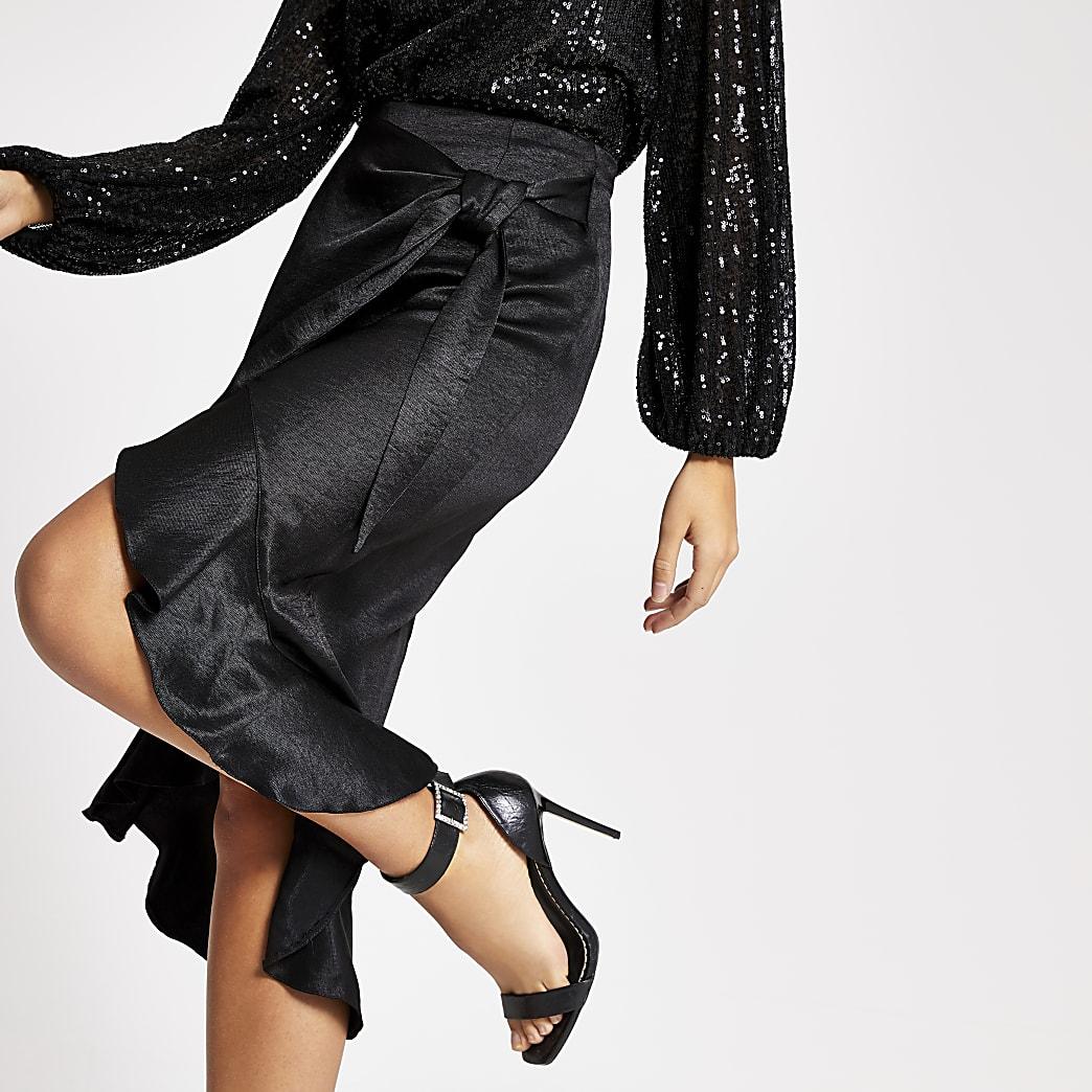 Black wrap frill midi skirt