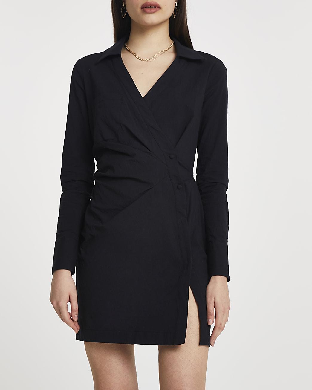 Black wrap shirt mini long sleeve dress