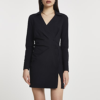 Black wrap shirt mini long sleeve dress