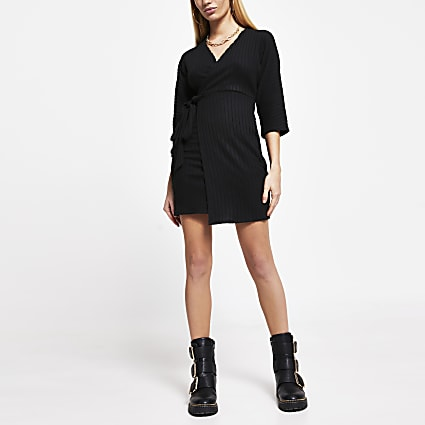 Black wrap tie waist long sleeve mini dress