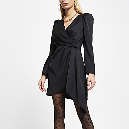 Black wrap waist long sleeve mini dress
