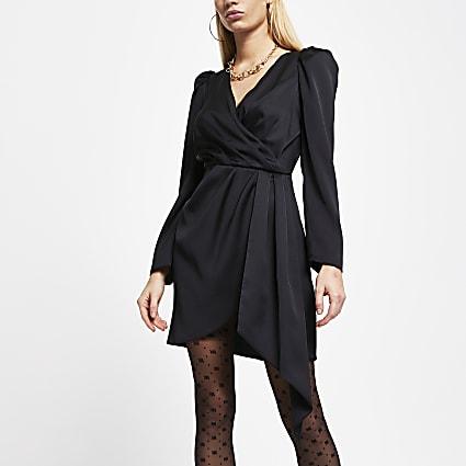 Black wrap waist long sleeve mini dress
