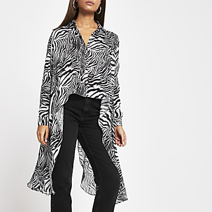Black zebra frill asymmetric sheer shirt
