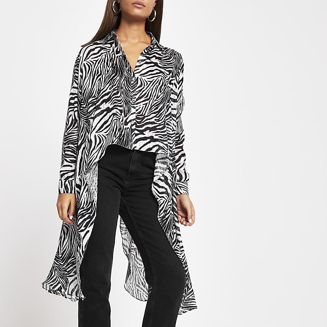 Black zebra frill asymmetric sheer shirt
