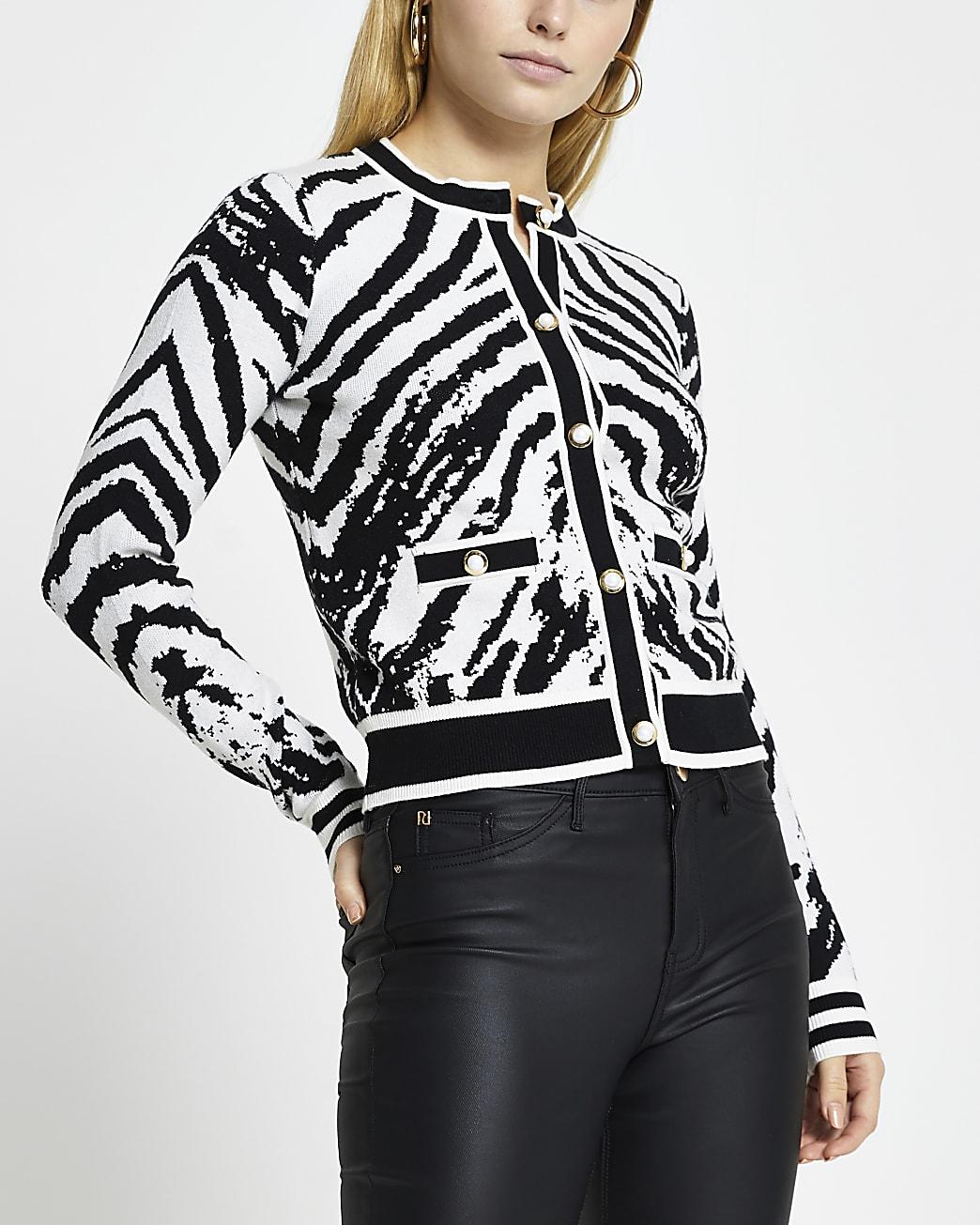 Black zebra print cardigan