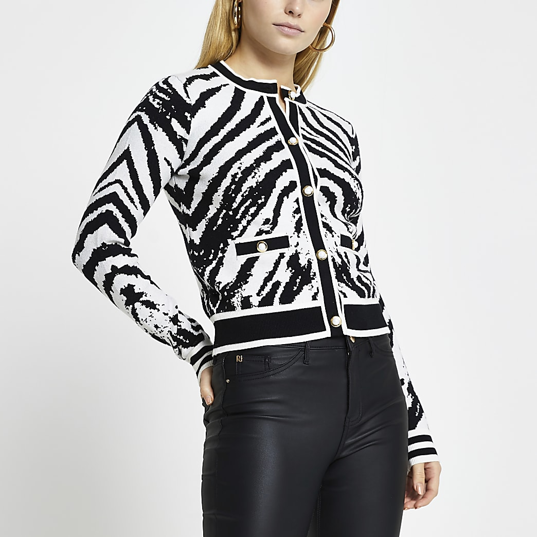 Black zebra print fitted cardigan