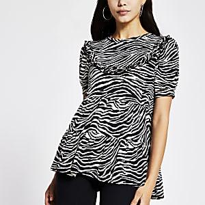 Black zebra print frill smock top