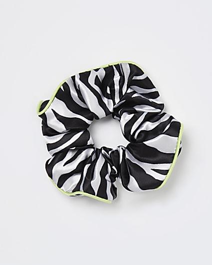 Black zebra print hair scrunchie