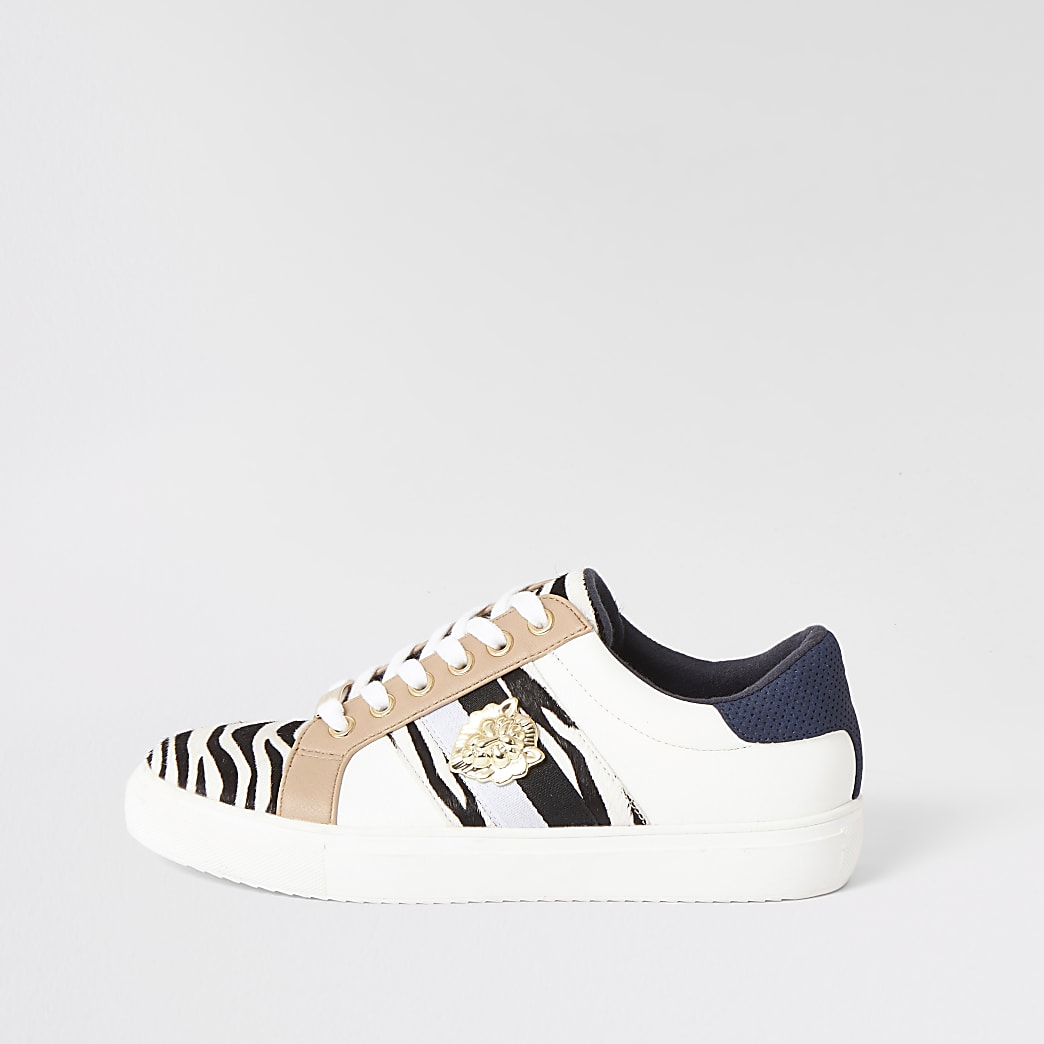 Black zebra print lace-up trainers