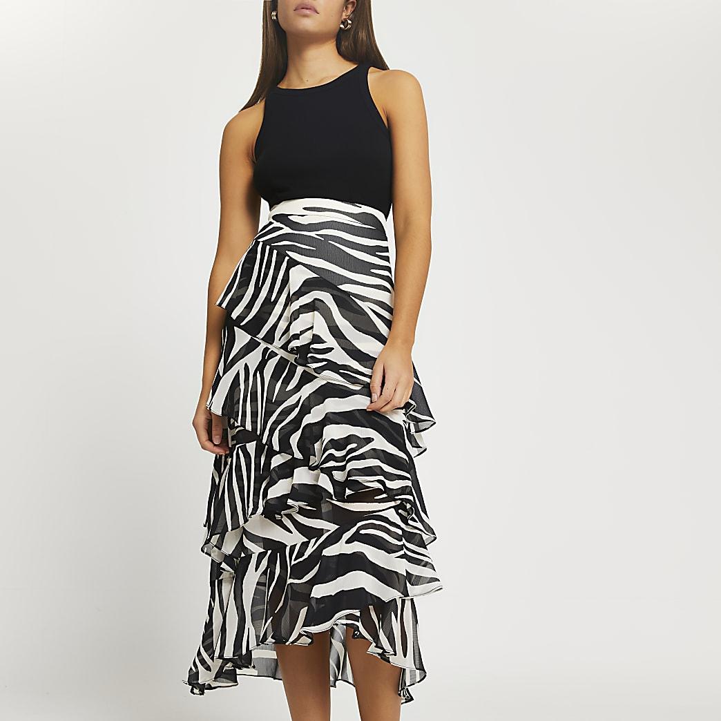 Black zebra print maxi ruffle skirt