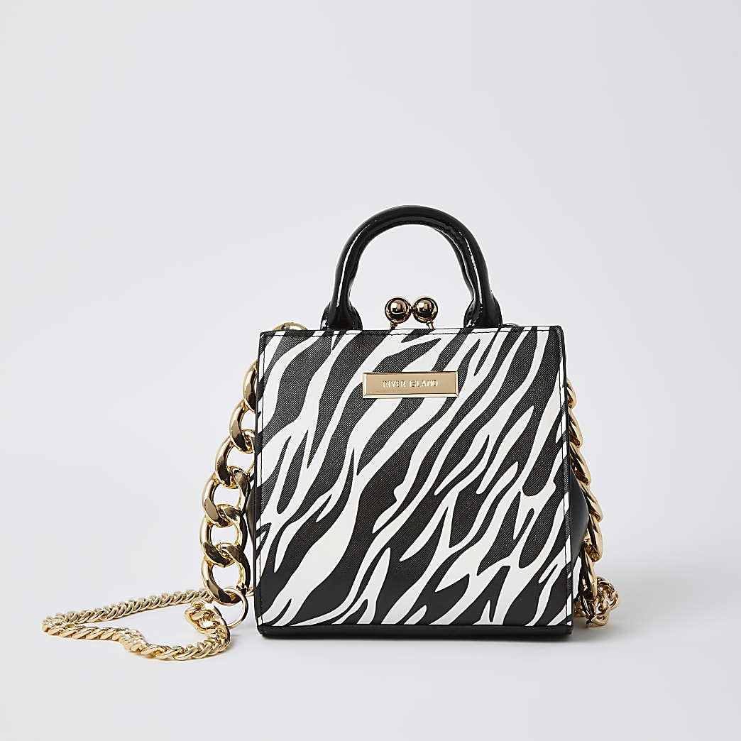 Black zebra print mini lady handbag