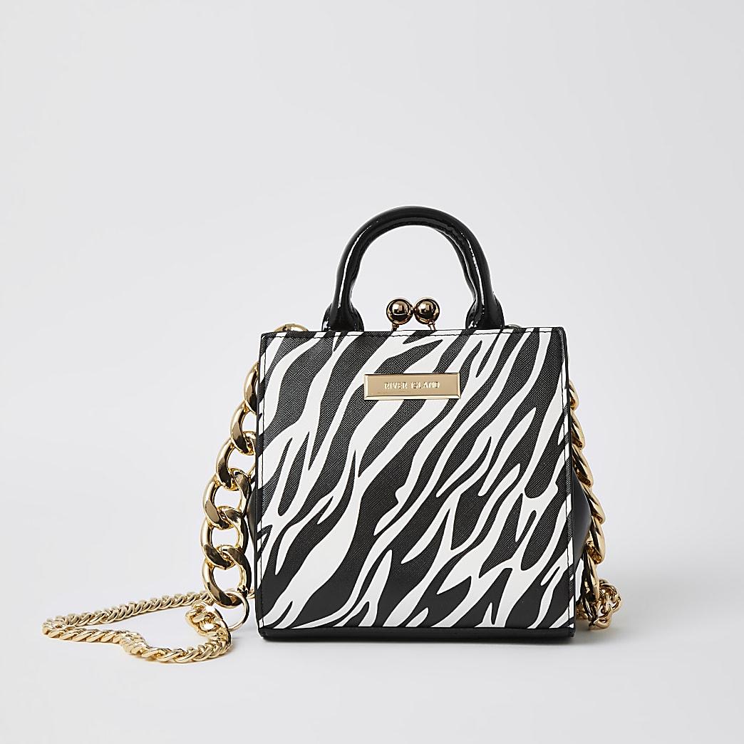 Black zebra print mini lady tote bag