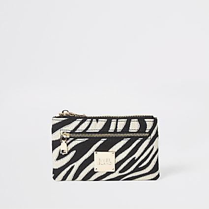 Black zebra print mini zip pouch