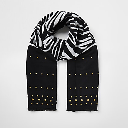 Black zebra print stud detail scarf