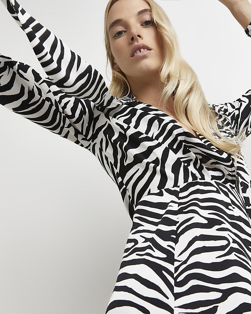 Black zebra print tie neck midi dress