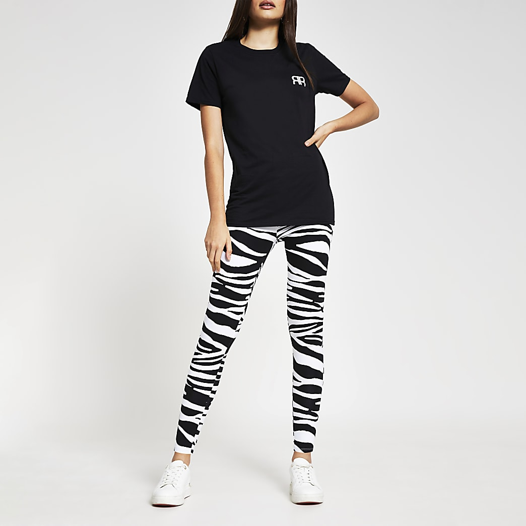 Black zebra printed leggings