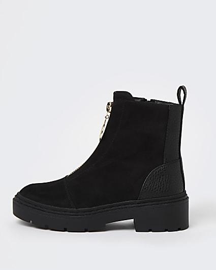 Black zip front chelsea ankle boots