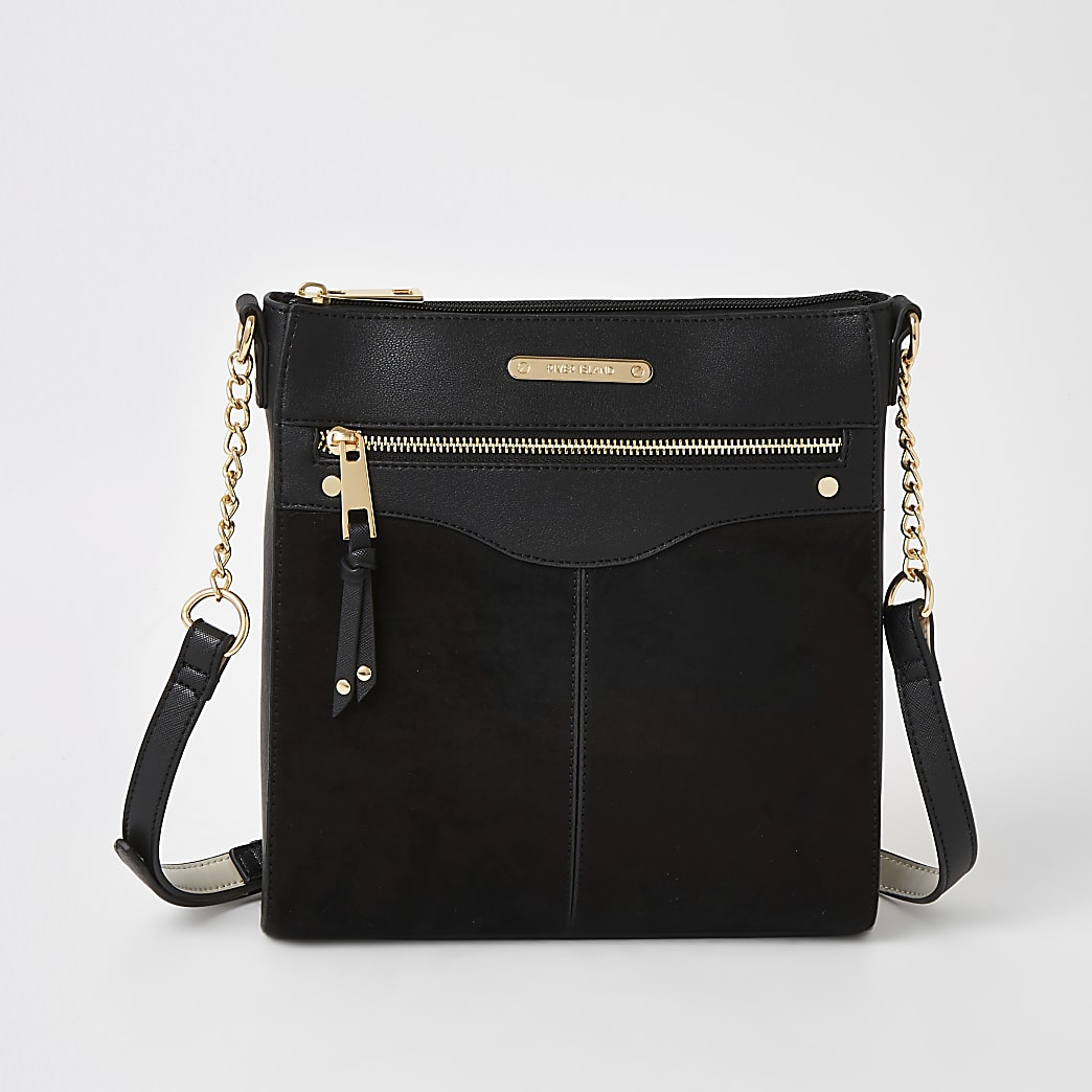 Black zip front cross body messenger bag