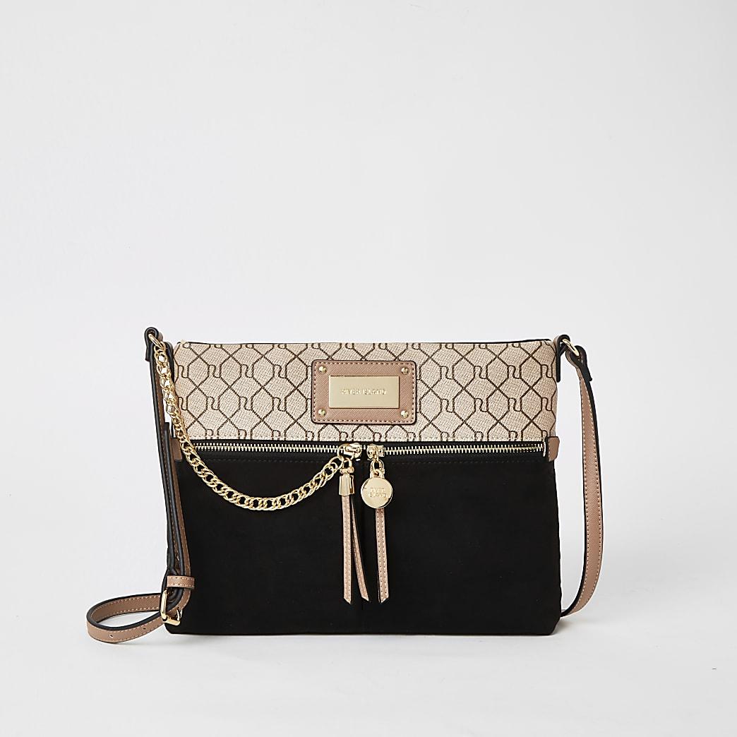 Black zip front crossbody messenger bag