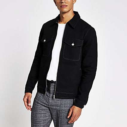 Black zip front denim jacket