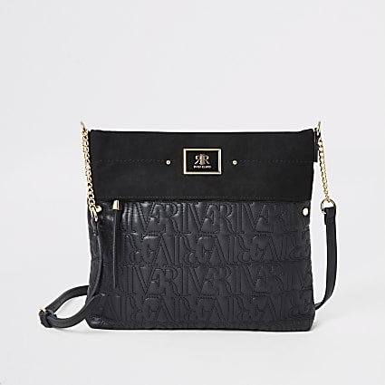Black zip front embossed cross body messenger