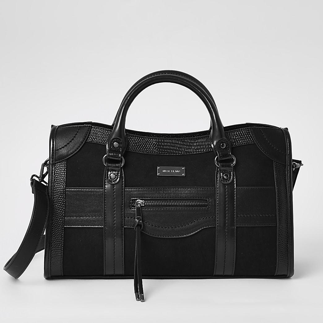 Black zip front large tote bag