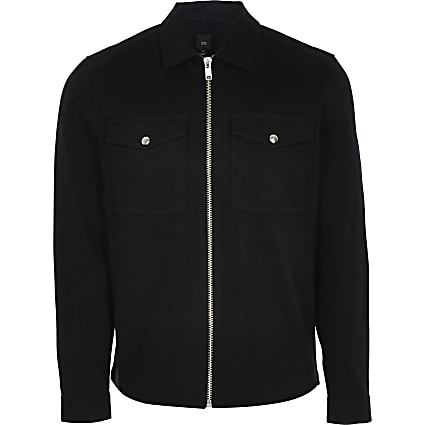 Black zip front long sleeve shacket