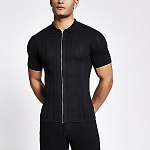 Schwarzes Muscle Fit Poloshirt aus Feinstrick mit Frontreißverschluss