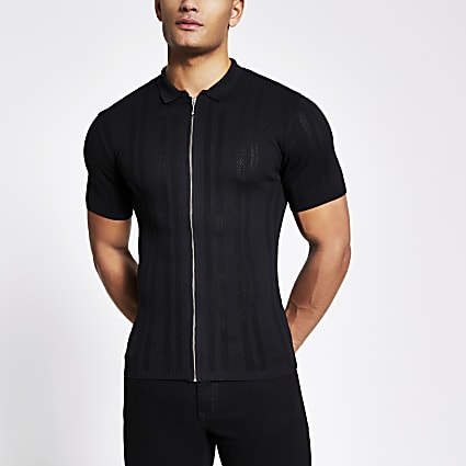 Black zip front muscle fit knit polo shirt