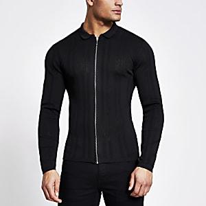 Schwarzes Muscle Fit Hemd aus Strick mit Frontreißverschluss