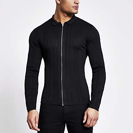 Black zip front muscle fit knitted shirt