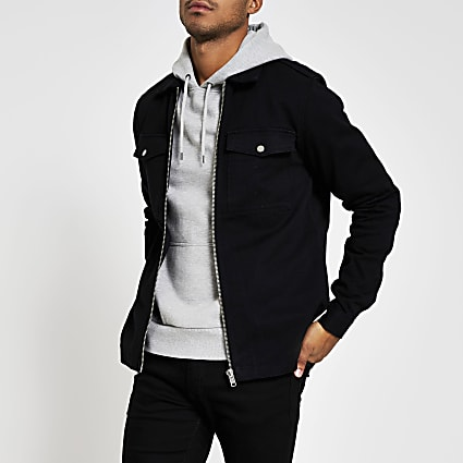 Black zip front regular fit overshirt jacket