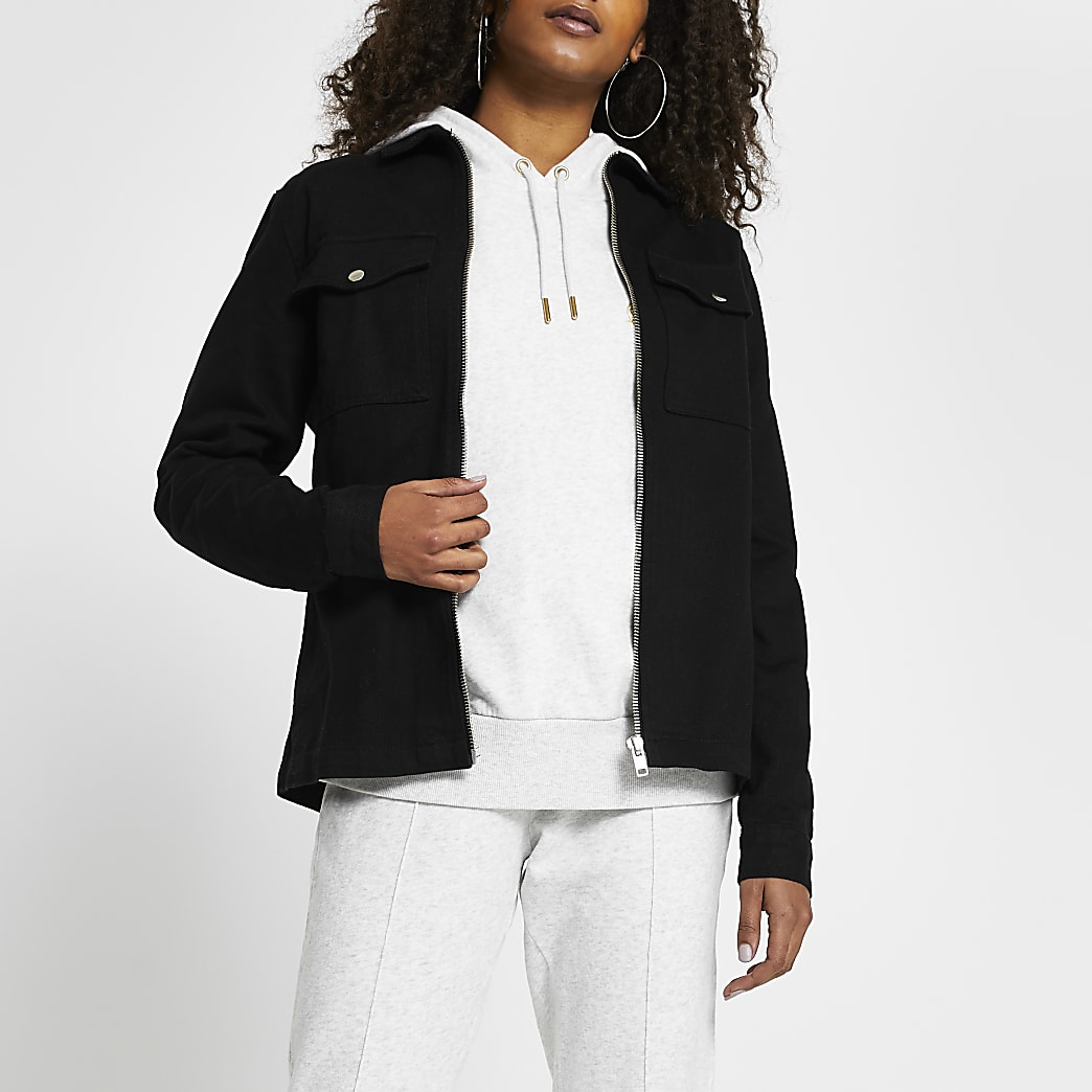 Black zip front regular fit shacket