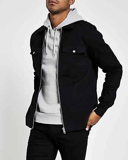 Black zip front regular fit shacket