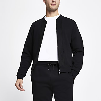 Black zip front slim fit bomber jacket
