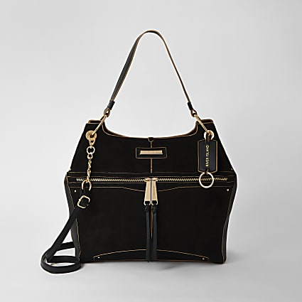 Black zip front utility slouch bag