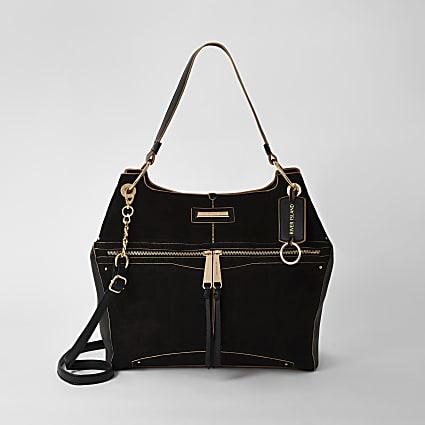 Black zip front utility slouch handbag