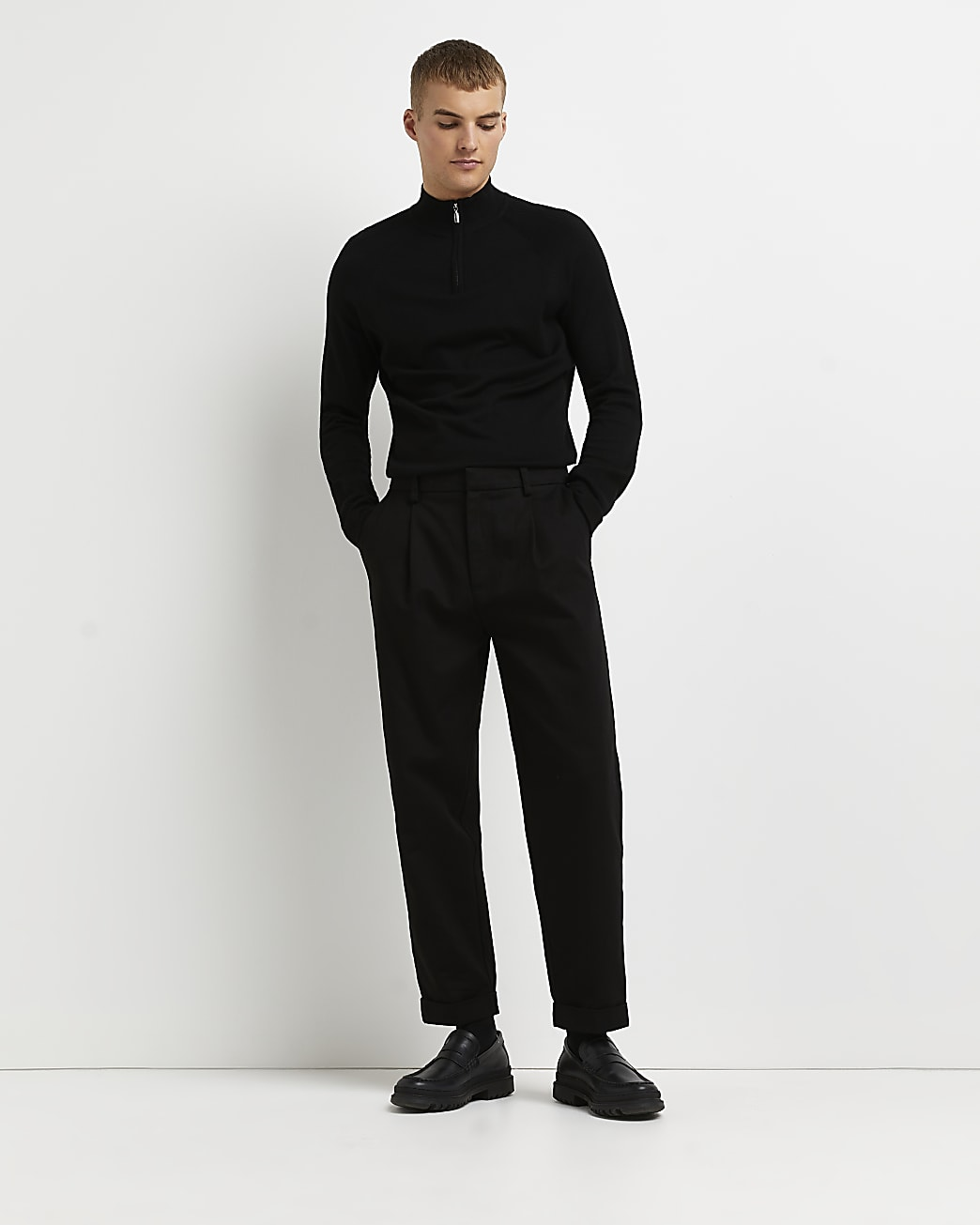 Black zip funnel neck jumper