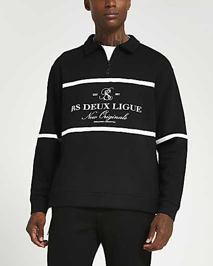 Black zip graphic long sleeve polo shirt