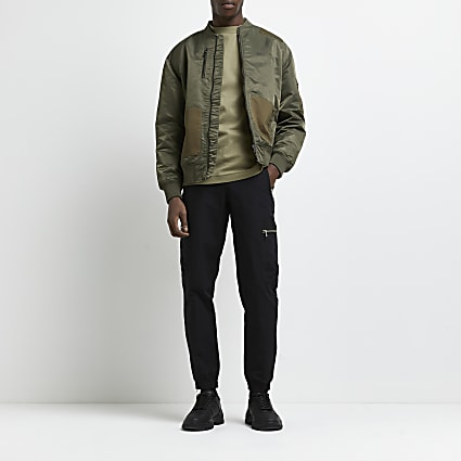 Black zip pocket cargo joggers