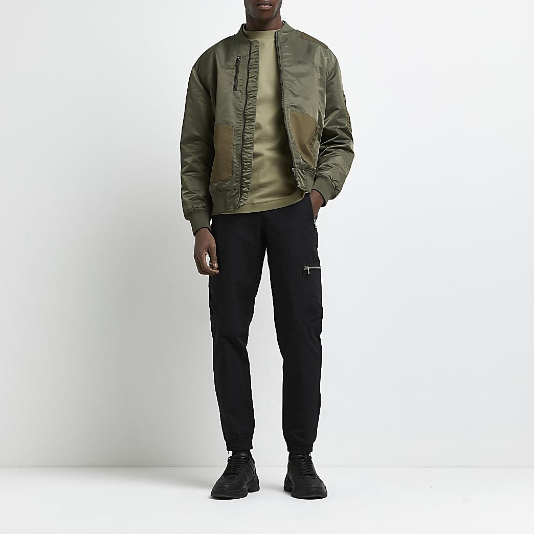 Black zip pocket cargo joggers