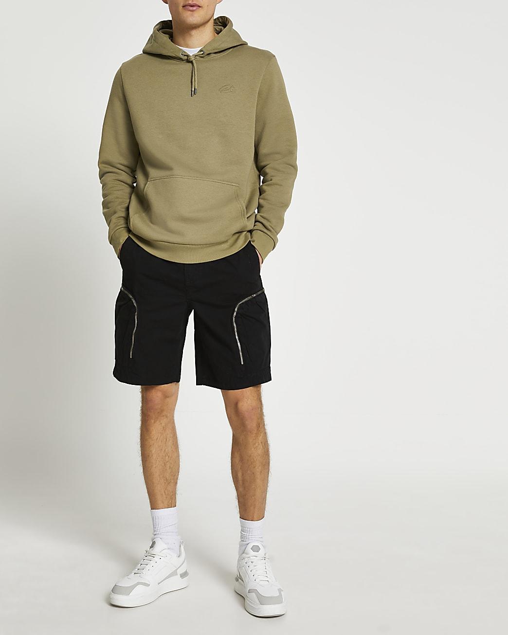 Black zip pocket cargo shorts