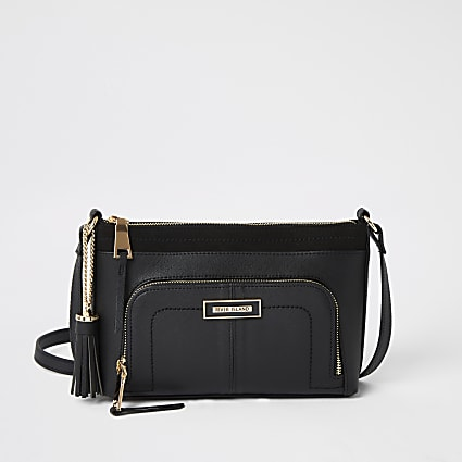 Black zip pocket front cross body bag