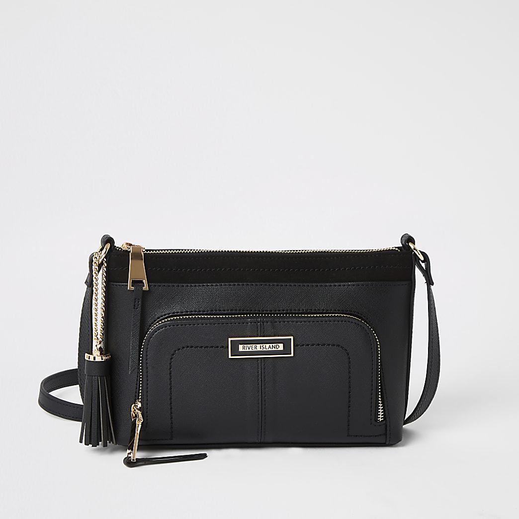 Black zip pocket front cross body bag