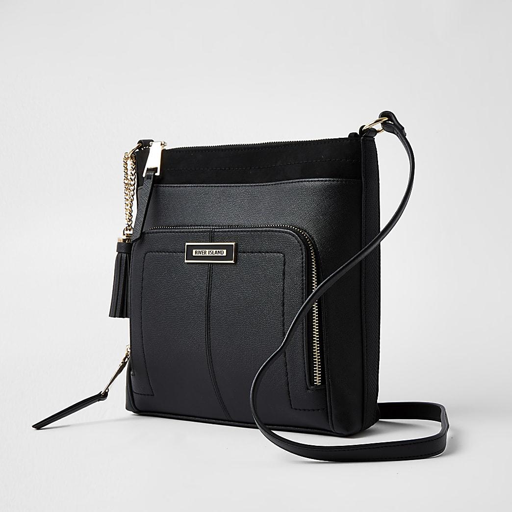 Black zip pocket messenger handbag