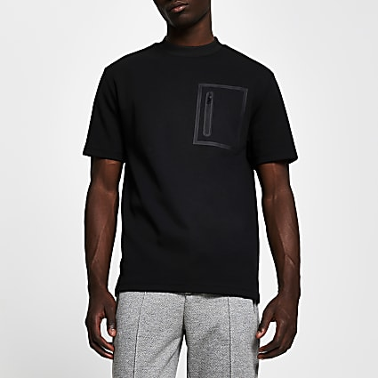 Black zip pocket regular fit t-shirt